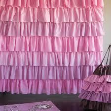Dark Purple Ruffle Curtains by Pink Shower Curtain Interior Design