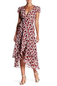 betsey johnson printed chiffon wrap dress nordstrom rack