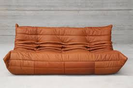 100 Lignet Rose Vintage Togo Cognac Leather ThreeSeater Sofa By Michel Ducaroy For