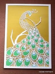 Papercutting Template 3 Colour Peacock DIY Kit By NineFingerJo