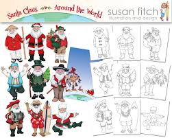 Santa Claus Around The World Digital Clip Art Coloring Pages And Invitation Template