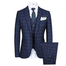 Mens Vintage Style Clothing CCXO Slim Plaid Modern Fit One Button 3 Piece Suit
