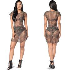 Women Summer Camouflage Dresses 2017 New Fashion Sexy Female Short Sleeve Mesh See Through Outfits