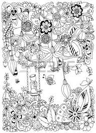 Adult Coloring Page Vector Illustration Zen Tangle Girl On A Swing In The Flowers