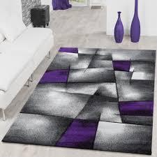 teppich modern wohnzimmer teppiche karo lila grau konturenschnitt größe 160x230 cm