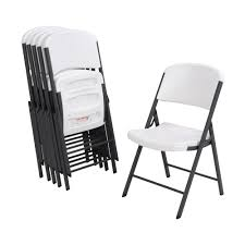 Lifetime White Plastic Seat Metal Frame Outdoor Safe Folding Chair (Set Of  6) Lifetime Commercial Folding Chair 201 D X 185 W 332 H Almond White Plastic Seat Metal Frame Outdoor Safe Set Of 4 With Carry Handle Ltm480372 Chairs 32 Pack 80407 Black Classic 4pack Lowes Pk 80643 480625 Contemporary 42810 Light Granite Of 6foot Stacking Table And Combo