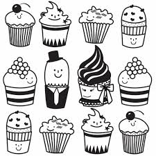 Simple Cupcake Drawing Cupcake Line Drawing Clipartsco