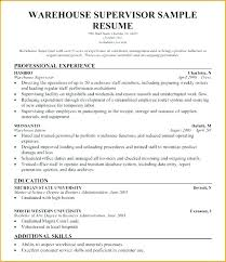 Resume Examples Of Warehouse Assistant Manager Format Sample Supervisor With