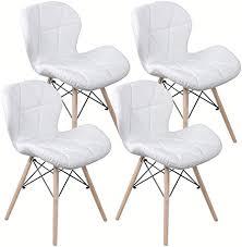 lovemyhouse polsterstuhl esszimmer ruby stuhl weiß retro design kunstleder holzgestell esstische set 4