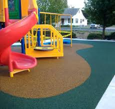 Poured Rubber Flooring For Playgrounds Textured Concrete Look