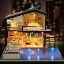 3D DIY Doll Houses Wooden Doll House Unisex Dollhouse Kids Toy