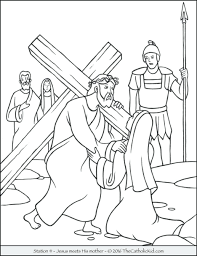 Mary And Martha Coloring Page Free Bible Pages Stations Cross Meets His Mother Large Size