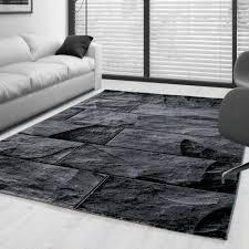moderner design stein mauer teppich kurzflor wohnzimmer