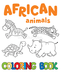 Download Coloring Book With African Animals Stock Vector
