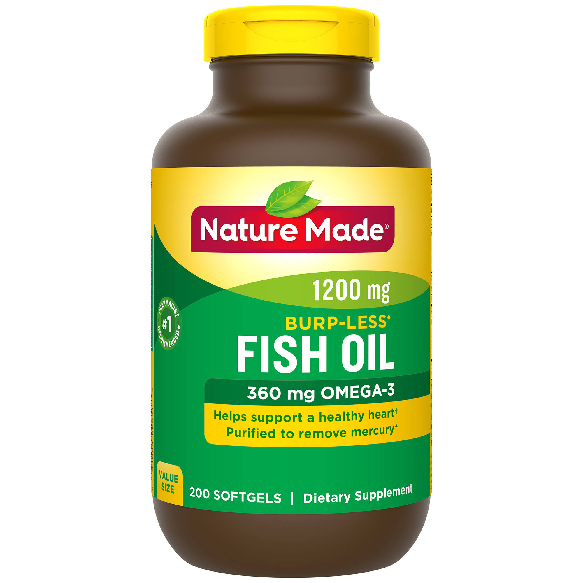 Nature Made Burpless Fish Oil Dietary Supplement - 360mg, 200ct