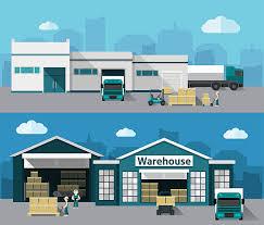 Warehouse Flat Banner Set Vector Art Illustration
