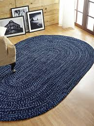 Chenille Carpet by Better Trends Chenille Reverible Tweed Braided Navy Smoke Blue