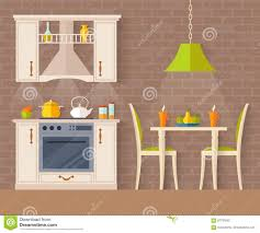 100 Interior Design For Small Flat Kitchendining Room In A Style Stock Vector