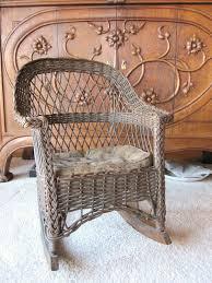 Chair Design Ideas Vintage Wicker Chairs Antique Rocking Childs Dark Brown Color