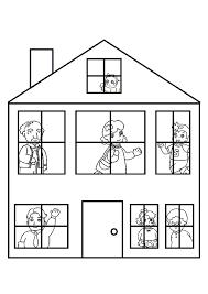 coloriage maison famille