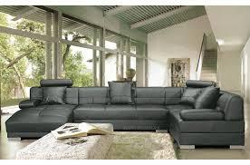canapé d angle en cuir italien 8 places napoli gris foncé