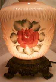Antique Hurricane Lamp Globes by What Will I Find Today Antique Hand Painted Rose Gone With The