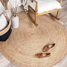 fraai jute teppich rund fair naturfarben ø 120cm flachgewebe einfarbig boho ländlich modern wohnzimmer esszimmer schlafzimmer