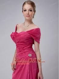 Modest Hot Pink Column Off The Shoulder Mother Of Bride Dress Ankle Length Taffeta