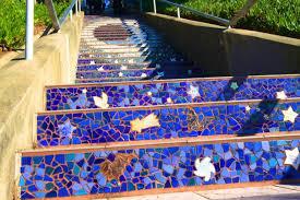 mosaic steps on 16th avenue in san francisco california through