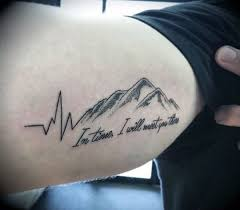 Coolest Grey Ink Heartbeat Mountain Tattoo For Men