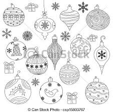 Hand Drawn Christmas Ornaments Collection Isolated Clip Art