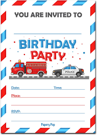 100 Fire Truck Birthday Party Invitations Amazoncom 30 With Envelopes 30 Pack Kids