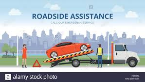 100 Truck Roadside Service Assistance And Car Insurance Concept Broken Car On A Tow