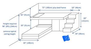 built in bunk bed design for 2 bunks with dimensions design
