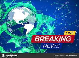 Breaking News Live With World Map On Blue Glowing Plexus Structure Background Business Technology Earth Planet