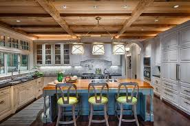 Heres An Eclectic Kitchen Design With Various Tones Throughout Including Light Blue Island Green