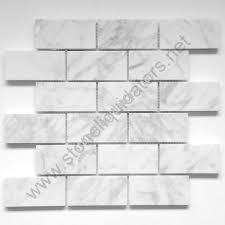 2 x 4 bianco white carrara marble mosaic polished