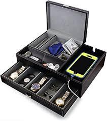 amazon com houndsbay big dresser valet box mens jewelry box
