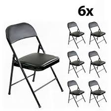 details zu 6 x klappstuhl stabil faltstuhl kunstleder schwarz stuhl metall gepolstert