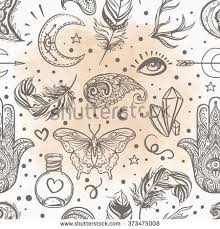 Seamless Pattern Of Ornamental Boho Style Elements Vector Illustration Tattoo Template Trendy Hand