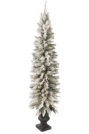6FT Flocked Potted Prelit Artificial Christmas Tree