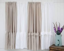 Purple Ruffle Curtain Panel by Ruffled Linen Curtain Panels Ruffled Curtains Farmhouse