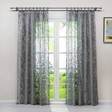 heichkell voile gardinen mit kräuselband grau transparent vorhang mit ausbrenner design wohnzimmer gardinenschal 1pc store bxh 140x145cm grau