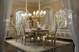 Majestic Formal Dining Room Furniture With Flower Centerpiece And Arched Window