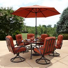 7 Piece Patio Dining Set With Umbrella by Grand Resort Oak Hill Lazy Susan Outdoor Set In Red Sears