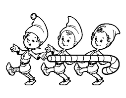 Three Christmas Elves Coloring Page