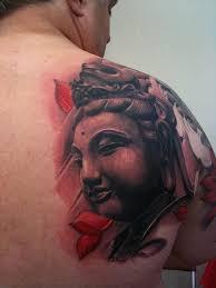 Amazing Asian Buddha Tattoo On Back Shoulder