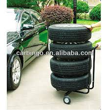 Metal Car Accessories 4 Wheels Mobile Tyre Display Stand Tire Storage Rack