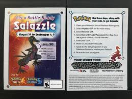 Pokemon Sun & Moon Salazzle GameStop Event Promo Code Card Nintendo  (Expired) Black Friday 2018 Syncromsp Interlock Coupons Coach Purse Discount Subscribe Ffx Coupon Express Codes 50 Off 150 Hot Topic Up For Grabs 30 Total And Urcdkeys Catapults You Back To School With Huge Savings On Psa Uti Pan Coupons Crs Infotech Psa Elephant Bar September Up 20 Off Car Hire Europcar Discount Codes Deals Drybar 10 Blowouts Milled Macys Printable Gocs Promo Code Support