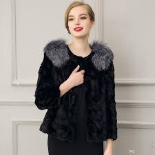 2017 2017 fur jacket fox fur trim o neck long sleeve short jacket